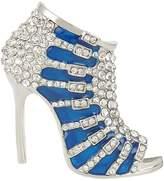 Ever Faith High-heel Red Enamel Brooch with Clear Austrians Crystal A10543-4