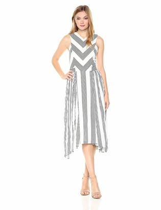 Adelyn Rae Women's Vidette Woven Striped Pleated Dress