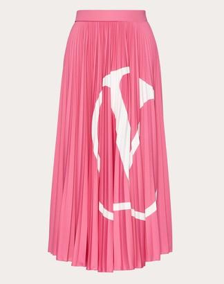 Valentino Vlogo Pleated Jersey Skirt Women Fuchsia Polyester 100% S