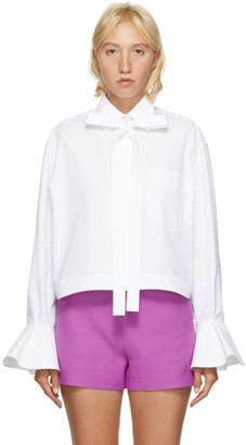 Valentino White Crop Bell Sleeve Shirt