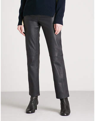 Joseph Slim-fit straight high-rise leather trousers