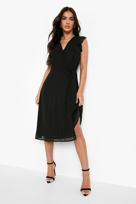 boohoo Chiffon Ruffle Skater Wrap Bridesmaid Dress