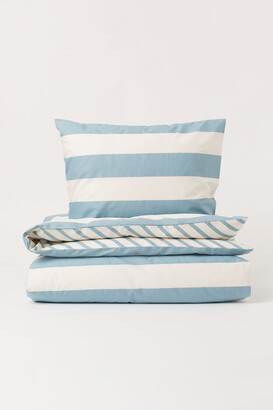 H&M Striped Duvet Cover Set - Turquoise