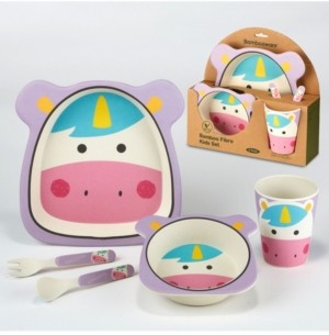 Certified International Unicorn Eco Friendly Bamboo Fiber 5-Pc. Kids Dinnerware Set