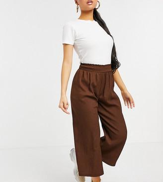 ASOS DESIGN Petite textured shirred waist culotte pants in brown