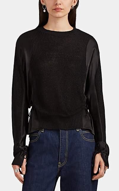 Women`s Silk-Satin-Inset Sweater - Black