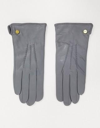 Barneys New York real leather gloves in light gray