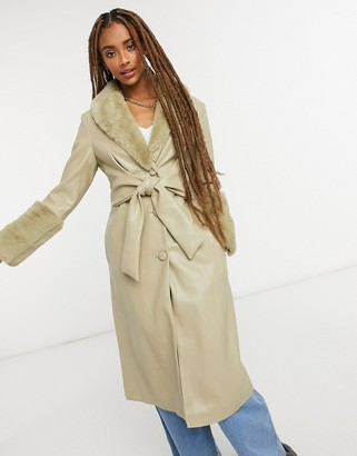 Jakke tilda faux leather wrap front trench coat with extreme faux fur trim