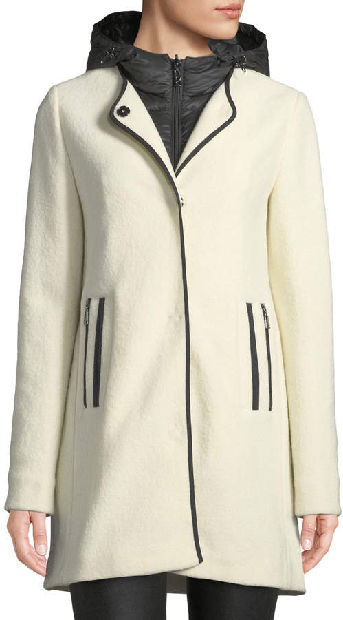 4aacf5cbc Susana Two-Piece Coat w/ Hood & Wool Overlay
