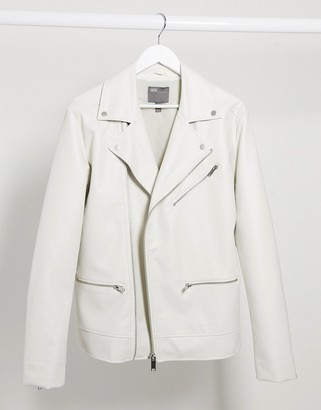 ASOS DESIGN biker jacket in white faux leather
