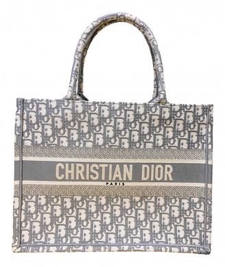 Christian Dior Book Tote Grey Cloth Handbags