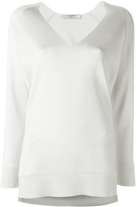 Lanvin collarless V-neck jumper