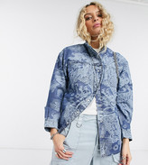 Topshop IDOL denim shirt with faux pearl buttons in mid wash