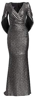 Talbot Runhof Women's Glitter Sequin Jersey Mermaid Gown
