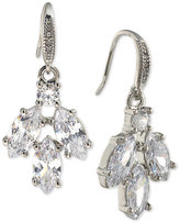 Carolee Silver-Tone Marquise Crystal Cluster Drop Earrings