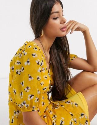 Y.A.S Tall Mella short sleeve floral print wrap dress