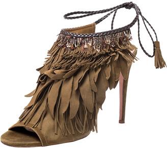 Aquazzura Aquazurra Brown Suede Fringed Ankle Strap Sandals Size 39