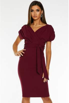 Quiz Berry Wrap Batwing Tie Belt Midi Dress