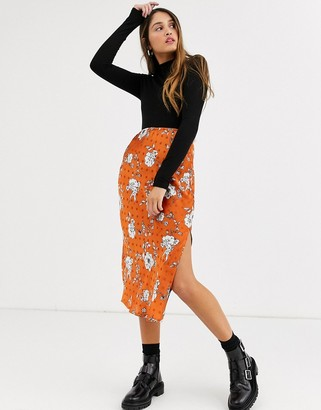 Qed London satin floral midi skirt in rust