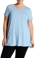 Vince Camuto Mixed Media Hi-Lo Tee (Plus Size)