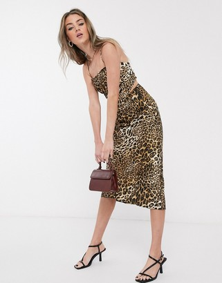 Jagger & Stone 90's hankerchief top in leopard print satin two-piece
