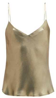 Galvan V-neck Metallic-effect Silk-satin Camisole - Womens - Khaki