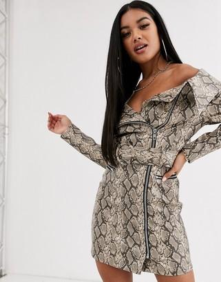 Asos Design DESIGN Premium snake belted mini pu dress-Multi