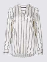 Marks and Spencer Striped Notch Neck Long Sleeve Satin Tunic