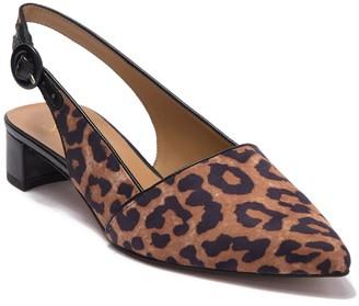 Franco Sarto Vickie Leopard Print Slingback Kitten Heel Pump