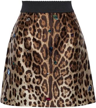 Dolce & Gabbana Crystal-embellished Leopard-print Silk And Wool-blend Mini Skirt