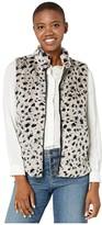 True Grit Dylan By Dylan by Leopard Faux Fur Mock Zip Vest (Denim) Women's Clothing