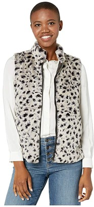 True Grit Dylan by Leopard Faux Fur Mock Zip Vest (Denim) Women's Clothing