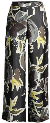 Lafayette 148 New York Riverside Floral Wide-Leg Ankle Pants