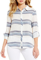 Daniel Cremieux Hayden Spread Collar Roll-Tab Sleeve Stripe Print Button-Front Blouse