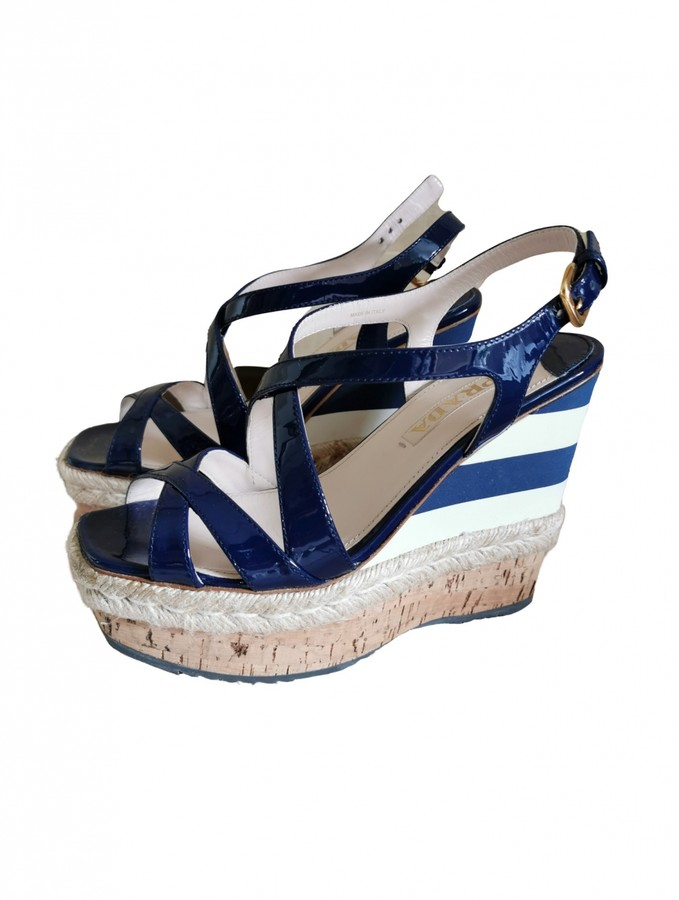 Navy Patent Sandals | Shop the world's