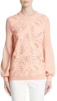 Lela Rose Women's Lace Trim Puff Sleeve Sweater