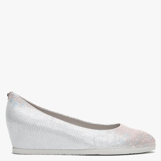 Högl Cathy Silver Metallic Leather Reptile Wedge Court Shoes