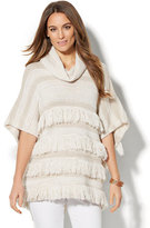 New York & Co. Fringed Cowl-Neck Poncho