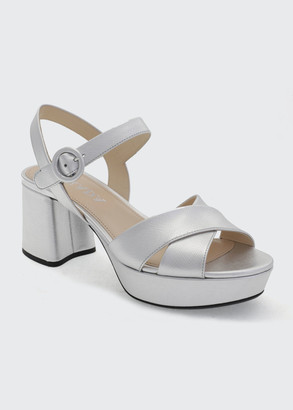 Prada 65mm Metallic Ankle-Strap Sandals
