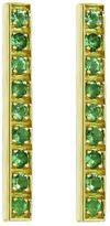 Jennifer Meyer Emerald Long Bar Stud Earrings - Yellow Gold