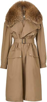 Utzon Canvas Trench Coat with Fur Collar
