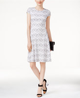 Alfani Lace Fit and Flare Dress, Created for Macy's