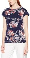Dorothy Perkins Women's Navy Printed Frill Sleeve Tee T-Shirt