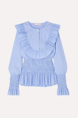 Tory Burch Smocked Ruffled Cotton Blouse - Light blue