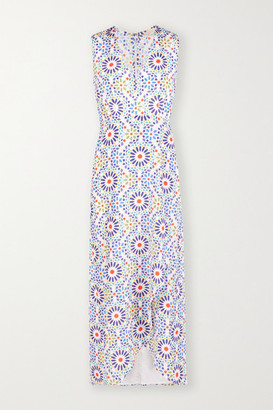 JALINE Net Sustain Karla Wrap-effect Printed Voile Maxi Dress - White