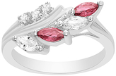 Bliss Red & White Cubic Zirconia Marquise-Cut Branch Ring