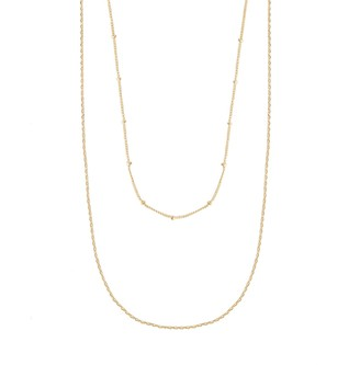 Wanderlust + Co Beaded Layered Chain Gold Necklace