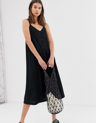 Weekday midi dress with button detail in black