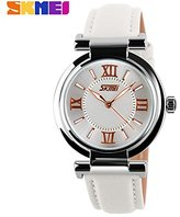 Girl's Fashion Genuine Leather Band Quartz Watch White