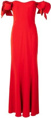 Badgley Mischka Off-Shoulder Ruffled Maxi Dress